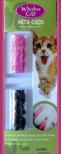 ~Whisker City Kitty Caps 40 Nails 2 Tubes 2 Applicator {ExtraSmall} Under 5lbs~