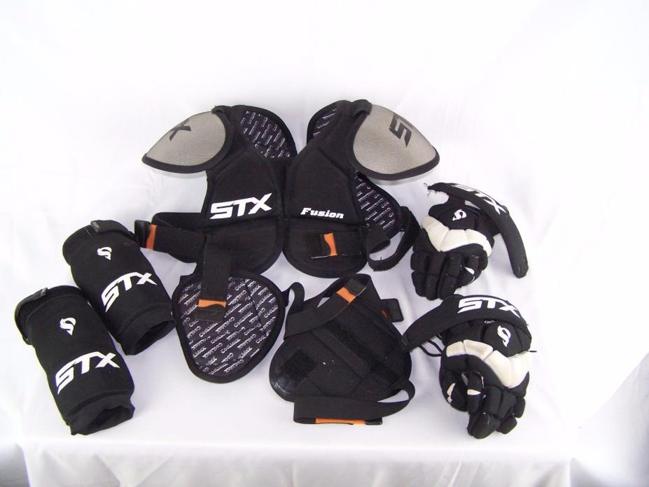 Lot of 7 Lacrosse Chest Pads Protection Gear Elbow Shoulder Gloves STX Fusion