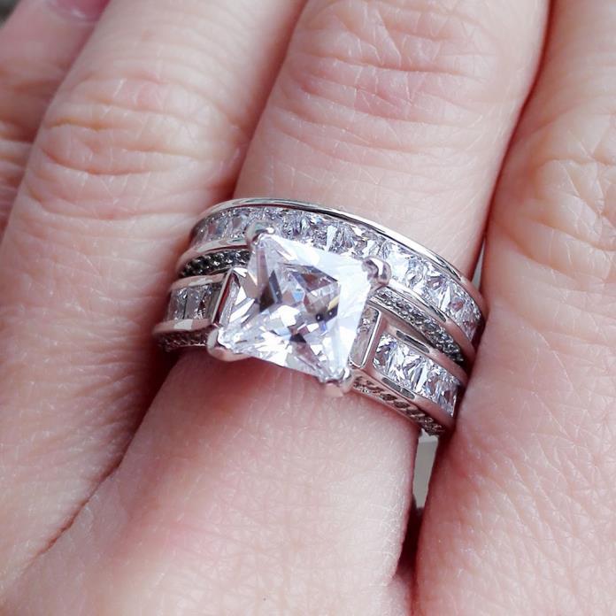 Sterling Silver 14k White Gold Princess Diamond Cut Engagement Wedding Ring Set