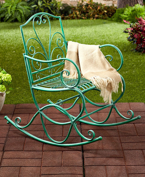 Wrought Iron Patio Furniture Rocking Chair Outdoor Furniture Garden Bench New