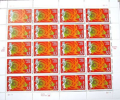 Chinese New Year Rabbit US Commemorative Postage Stamps Mint Sheet