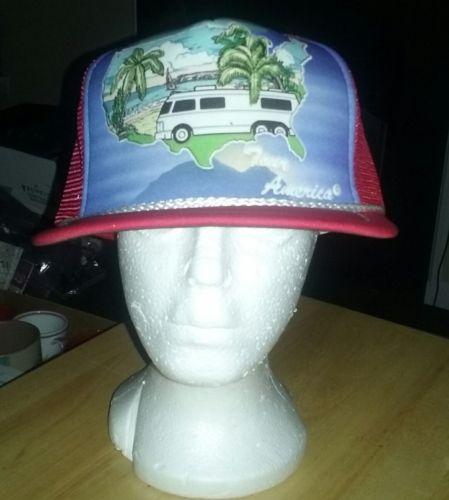 90s Vintage RV Camper Tour America Hat Snapback Deadstock Truckers Mesh