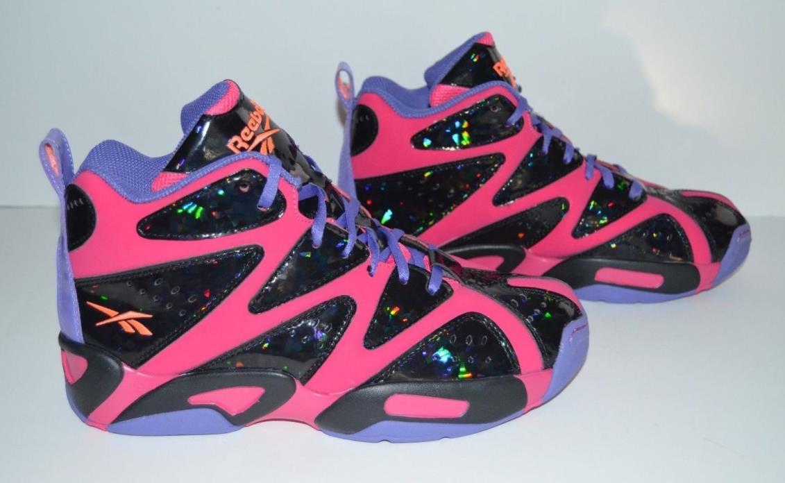 Reebok Kamikaze 1 Mid Basketball Shoes - Youth Size 6.5 - Hot Pink Black Purple