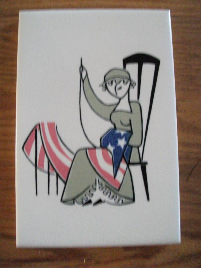 VINTAGE MOSAIC TILE CO. ZANESVILLE 1930-1940 BETSY ROSS MAKING U.S.A. FLAG