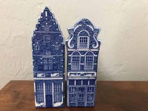 Vintage Holland Delft Blue Canal Houses Trapgevel 1620 & Fantaziegevel 1600