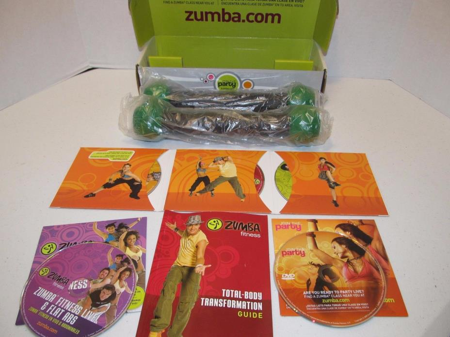 Zumba Fitness Join the Party 5 DVDs 2 Toning Sticks in Box Spanish English Guide