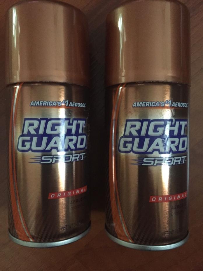 2x Right Guard Sport Refreshing Original Aerosol Deodorant Spray 3oz