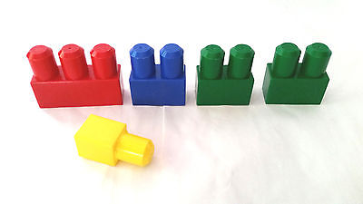 5 Pcs Vintage Mega Bloks Replacement Blocks Parts ~ Mixed Lot