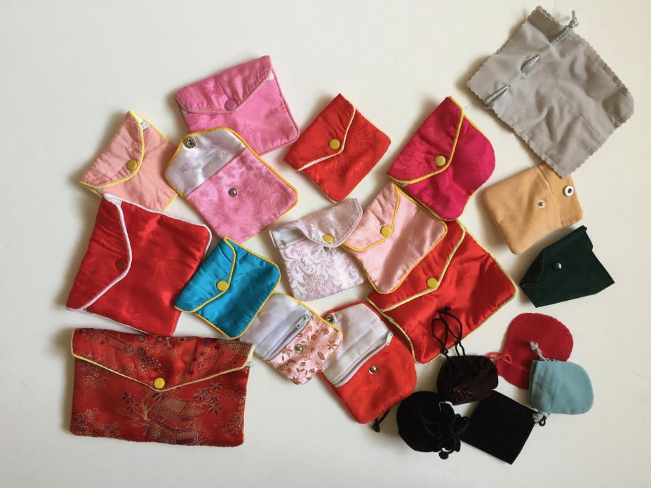 23 jewelry bags 13 silk, 8 velvet assorted colors and sizes