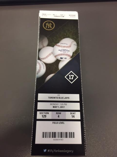 New York Yankees Toronto Blue Jays MINT Season Ticket 5/1/17 2017 MLB Stub
