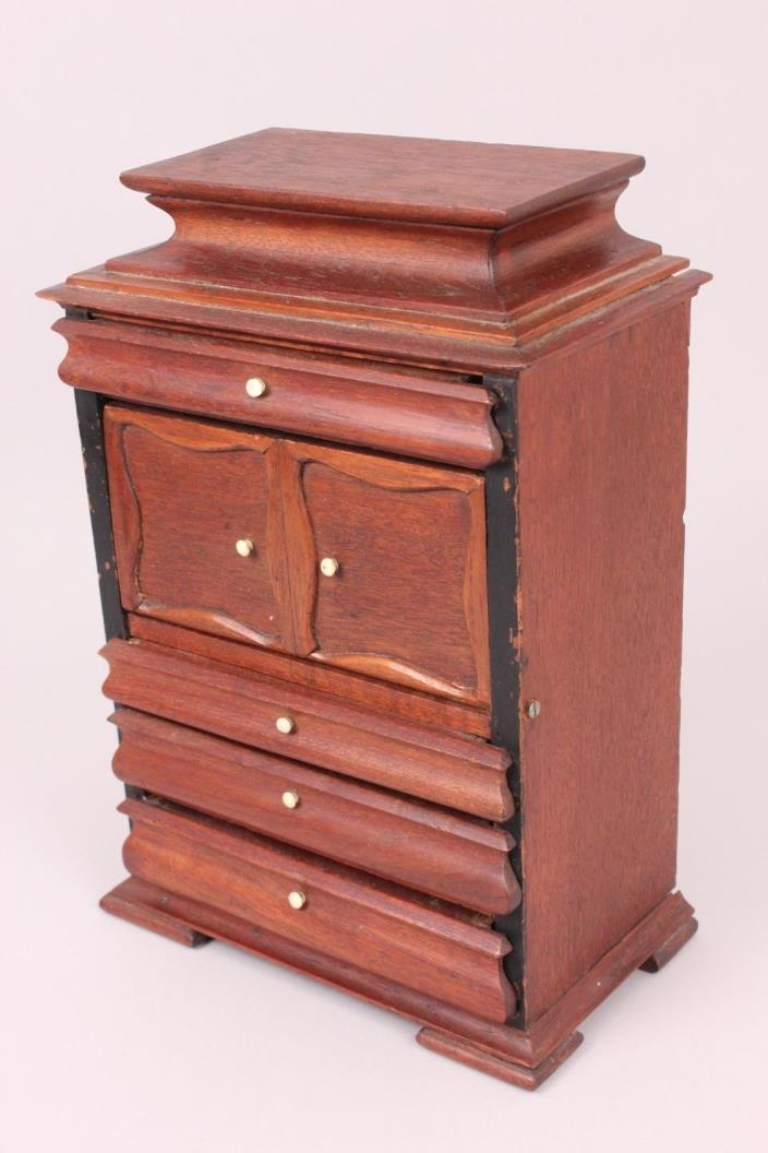 Antique Empire Style Miniature Wooden Desk/Chest, Circa 1870, for Fashion Doll