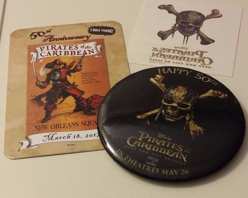 Happy 50th Anniversary Pirates of the Caribbean Button Disneyland Disney Pin Lot
