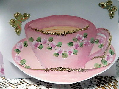 Handpainted Teacup Card And Envelope Shabby Chic Pink Free Shipping