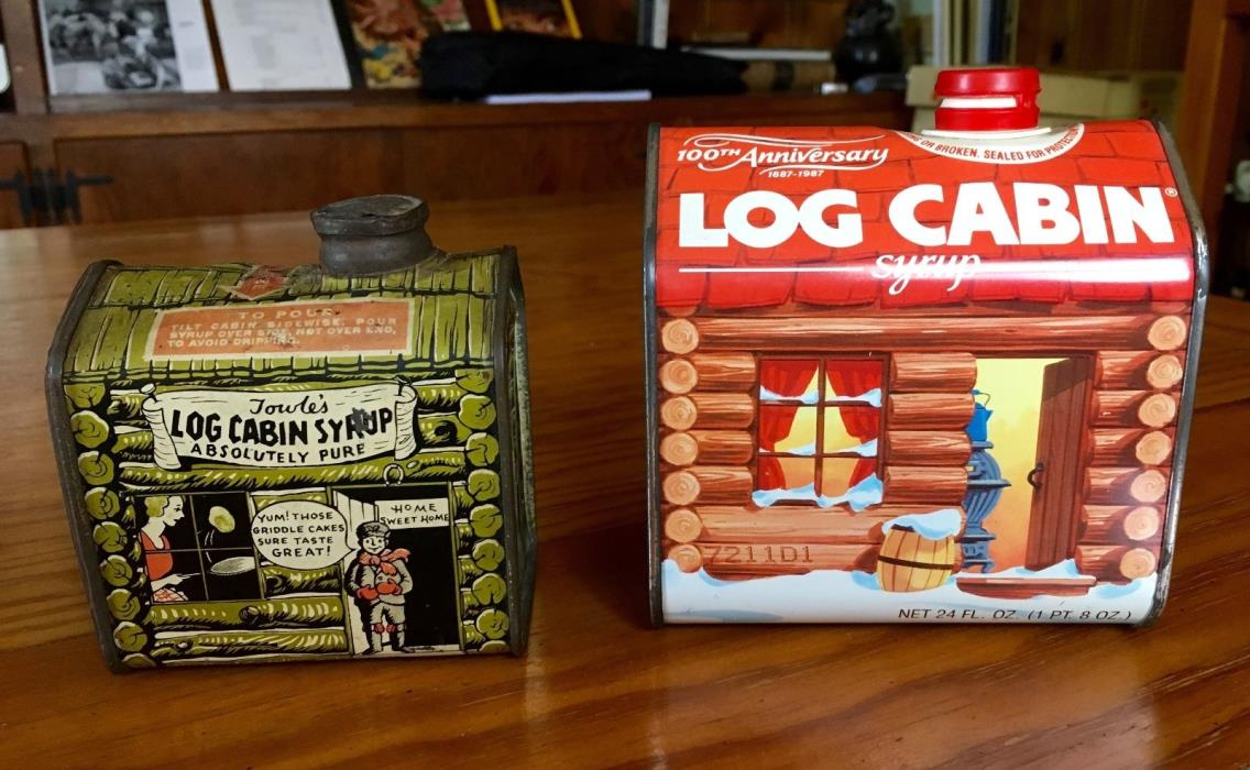 Towle's log Cabin Syrup Tin. Boy in Door. Table Size. Pre 1945 PLUS 1987 LC Tin