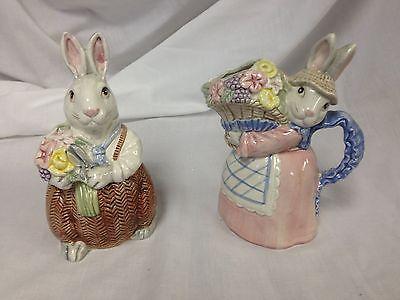 Fitz & Floyd Easter Bunny Rabbit Sugar and Creamer