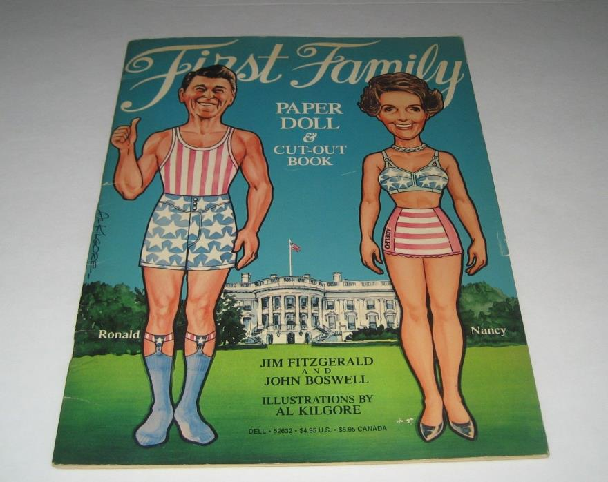 1981 First Family Ronald and Nancy Reagan Paper Dolls Cut Out Book
