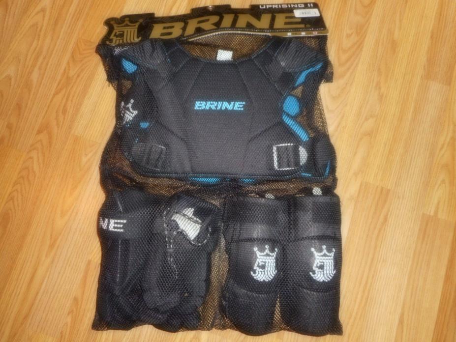 Brine Uprising 2 LAX Lacrosse Youth Starter Set Pads, Shoulder Elbow Gloves Lrg