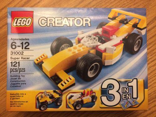 Lego Creator ~ Super Racer (31002) 3-in-1 Race Car, Quad Bike, Go-Kart NEW NIB