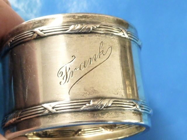 ANTIQUE .800 SILVER MONOGRAM FRANK STERLING NAPKIN RING