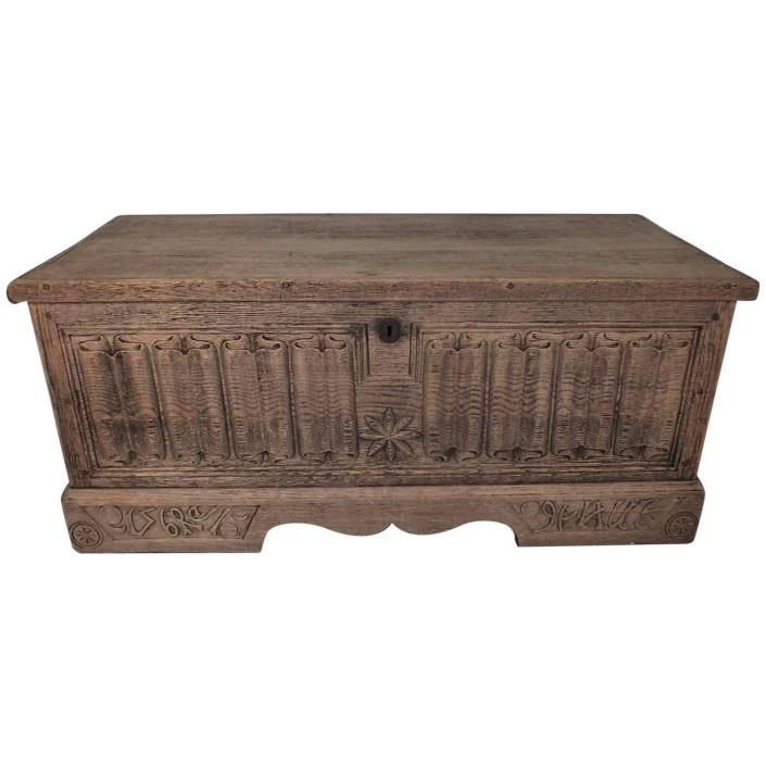 French 19th Century Solid Oak Wood Blanket Chest Carved Details Bleached Finish