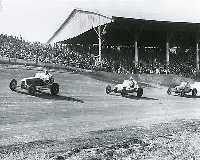 Vintage 1950'S Black & White Car Racing Speedway (Race Car) Photo 8X10