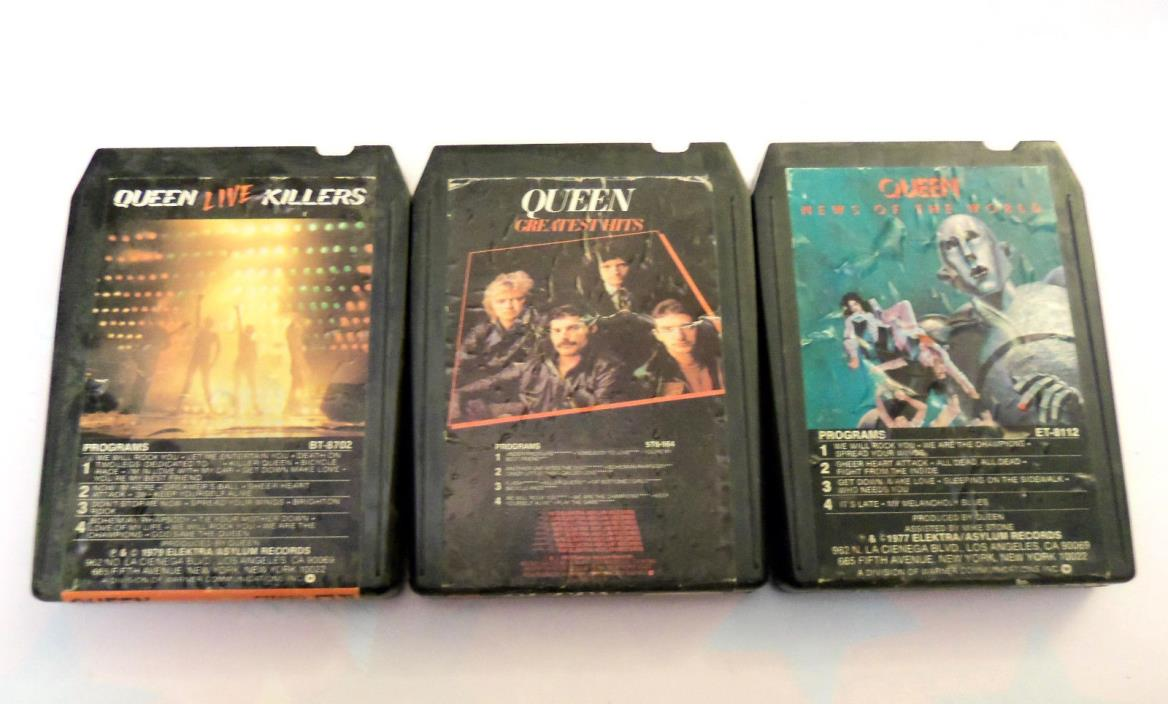QUEEN - Live Killers - News of the World - Greatest Hits --- 8-Track Tapes