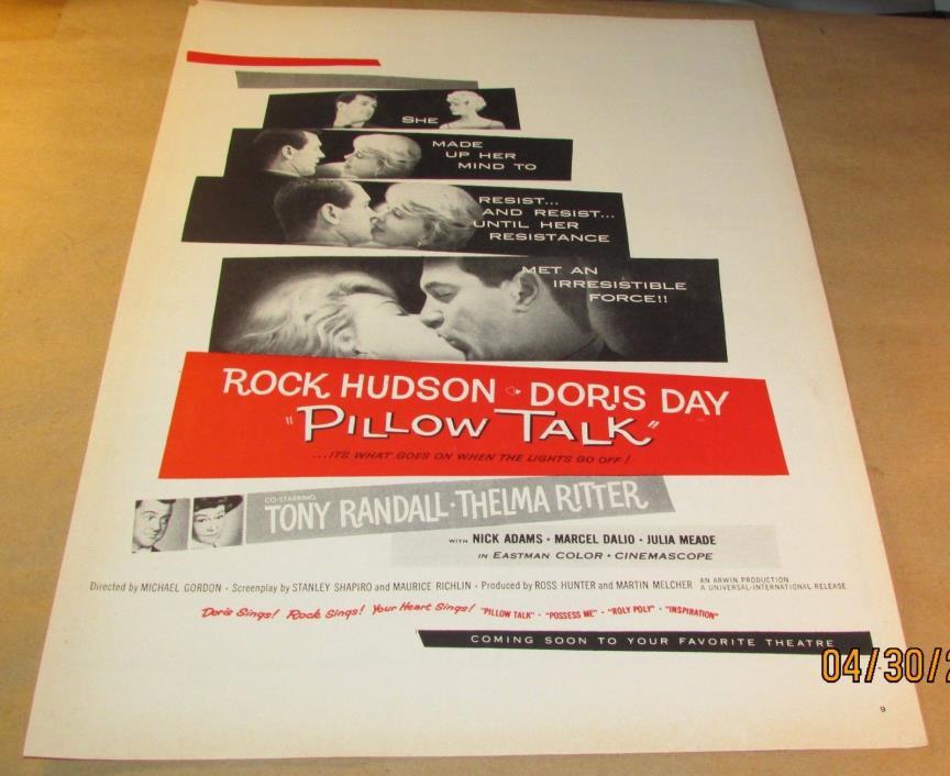 Movie Ad---PILLOW TALK--- 1959 ---DORIS DAY--TONY RANDALL--ROCK HUDSON