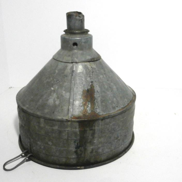 Large Vintage Galv Metal Funnel Old Farm Rustic Decor Industrial Lamp Shade