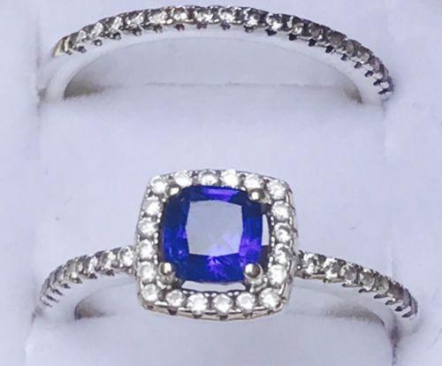 Diamond/Blue Sapphire Wedding Ring Set
