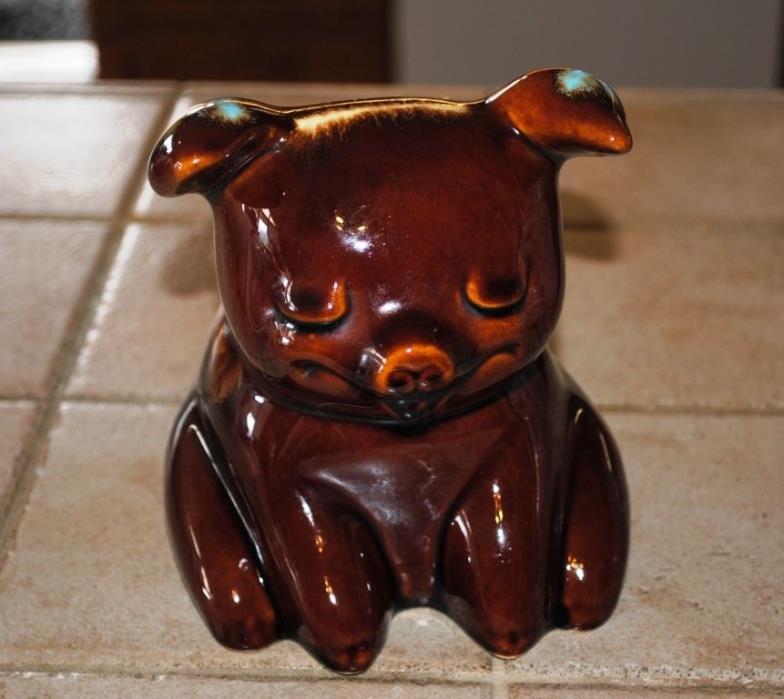 Vintage Hull Pottery USA Sitting Corky Pig Piggy Bank Brown Turquois Glaze Drip