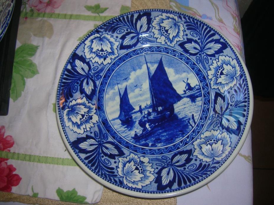 Vintage Boch Delft Plate Sailboats