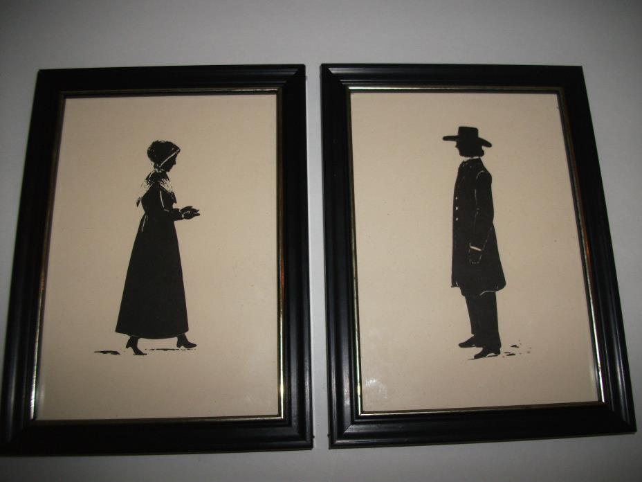 OLD PAIR OF PICTURES SHAKER MAN AND WOMAN