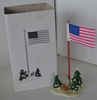 Vintage Dept 56 Christmas Village Flag Pole Mib
