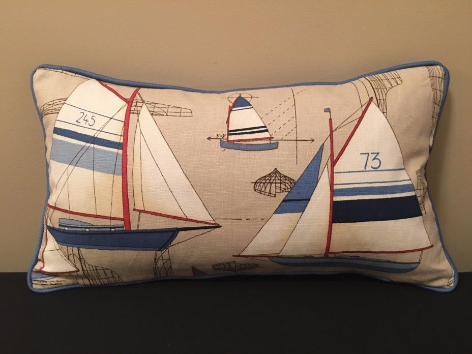 New, Duralee - Newport Throw Pillow with Yachts/Sailboats