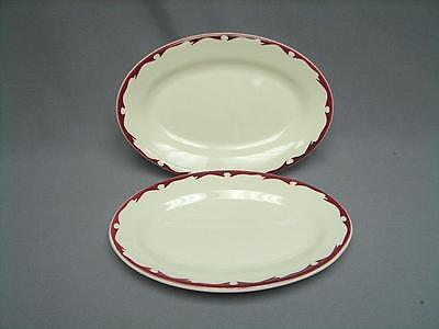 BUFFALO CHINA RESTAURANT WARE RED MAROON SCROLL CREST OVAL PLATTER ENTREE (2)