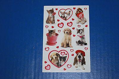 Vintage American Greetings Sticker Sheet Puppies & Kittens & Hearts