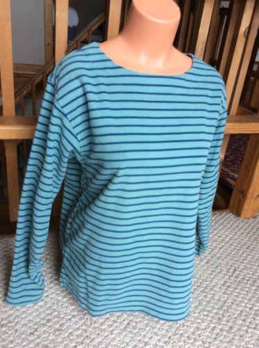 PATAGONIA Striped Fleece Top Crewneck Pullover Aqua Blue Women's L