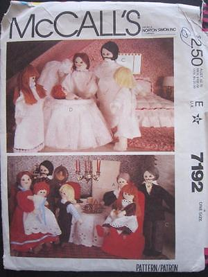 MCCALLS 7192 DOLL FAMILY AND CLOTHES PATTERN - UNCUT