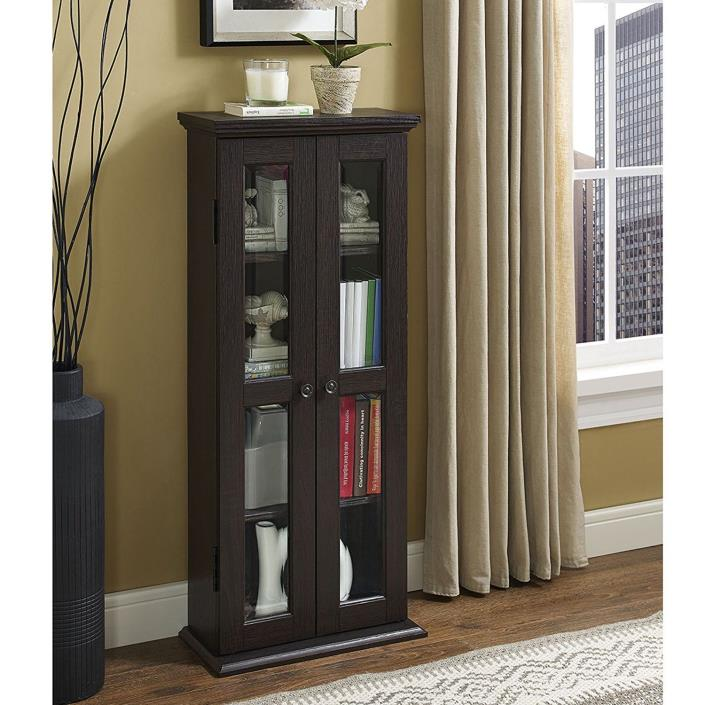 Media Storage Cabinet With Doors Glass Home Living Bedroon Furniture Laminate