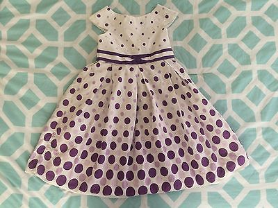 Girls Size 6 White Dress with Purple/ Lavendar Poka Dotted SPRING/SUMMER