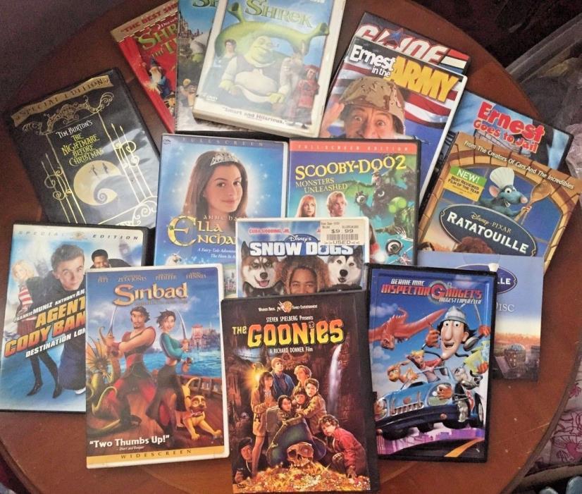 Lot Of 15 DVDs Kids Goonies Shrek Ratatouille Nightmare Before Christmas Disney