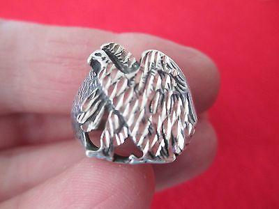 2 Vintage Eagle, Hawk, BIRD Rings, 1 Large Sterling Silver, Sizes 12, 13