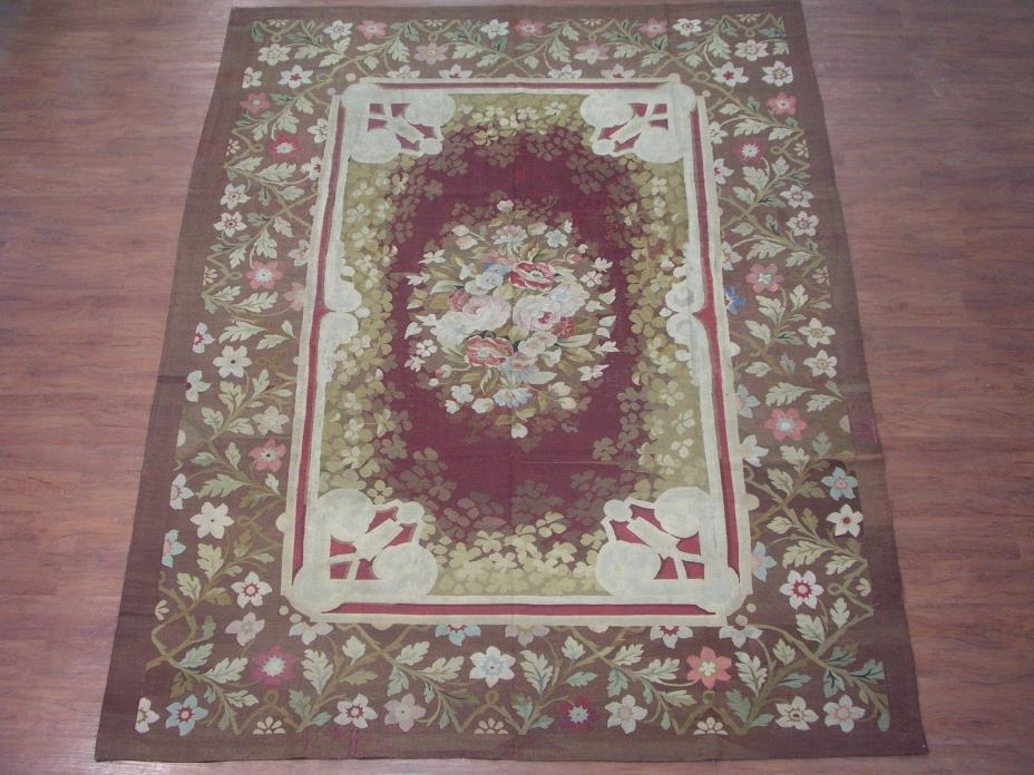 Antique 8X11 French Aubusson Circa 1880 Area Hand-Knotted Area Carpet Rug