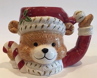Fitz and Floyd 1994 Christmas Teddy Bear Large Coffee Cup/Mug