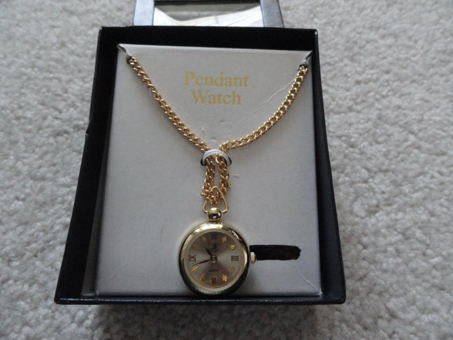 New Jaclyn Smith Quartz Necklace Pendant Watch