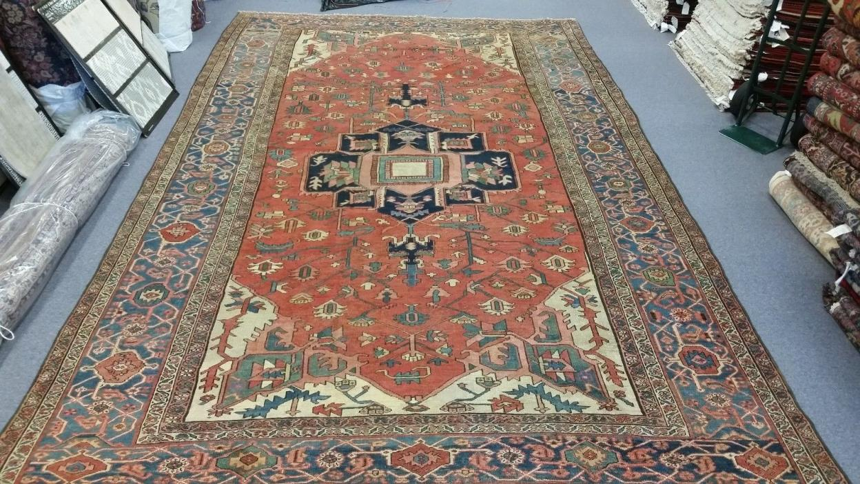 ANTIQUE HERIZ SERAPI PERSIAN ORIENTAL AREA RUG 10 X 16