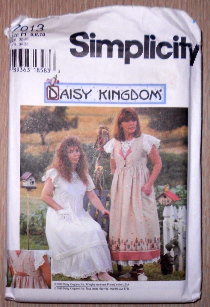 Vintage Simplicity Pattern #7013, Daisy Kingdom Misses' Pinafore & Dress~Sz 6-10