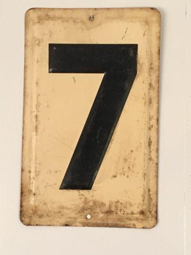 Vintage Gas Station Price Sign Number 7, Measures 12