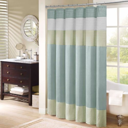 Madison Park Carter Polyester Faux Silk Shower Curtain