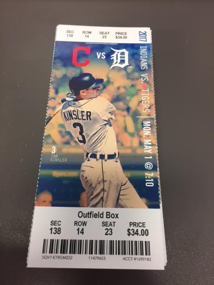 Detroit Tigers Cleveland Indians MINT Season Ticket 5/1/17 2017 MLB Stub